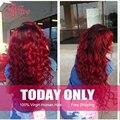 Дешевые 3 Пучки Ombre Бразильские Волосы С Закрытием Красный Ombre Бразильские Волосы Черный И Бордовый Бразильские Волосы Ombre Человека волос