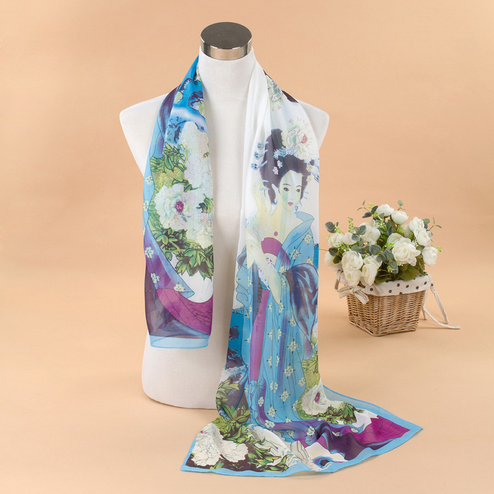 Lady's Peony Chinese Classic Beauty Print   Scarves     Wraps   Women   Scarf   3 Colors