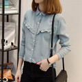 Blusas Femininas women office shirts Tops Mori Girl Style lace flowers hollow blouse long-sleeved cotton clothes for female