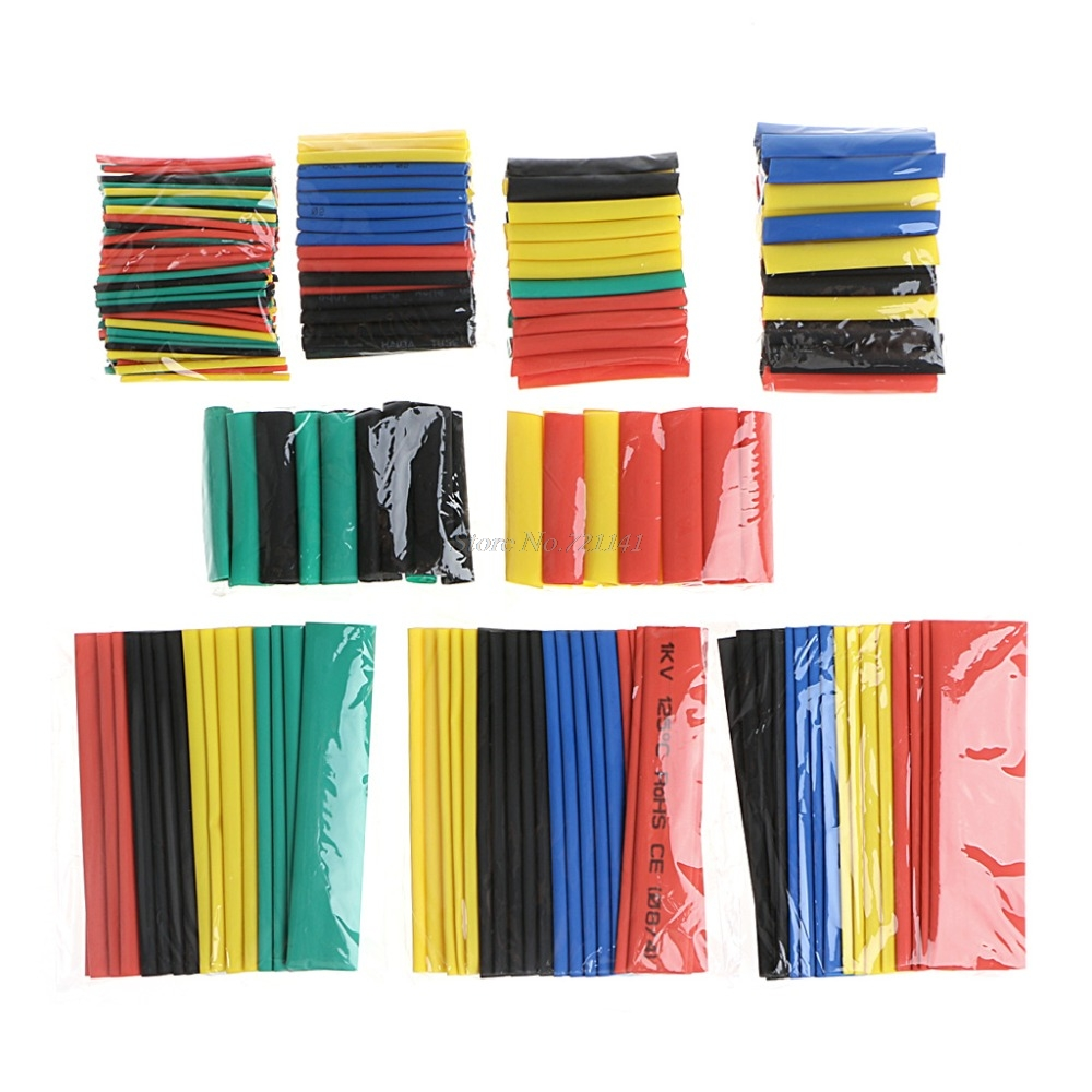 328 Pcs 2:1 Polyolefin Heat Shrink Tubing Tube Cable Sleeve Wrap High Voltage 8 Size Insulation Sleeving 55m pack insulation polyolefin ratio 2 1 heat shrink tubing 11 sizes 6 colour shrinkable tube sleeving set