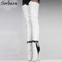 Sorbern Woman Boots 18cm Extreme High Heel Sexy Over Knee Ballet Heels Black Thigh High Shoes fetish Padlocks Chain Crotch Boots