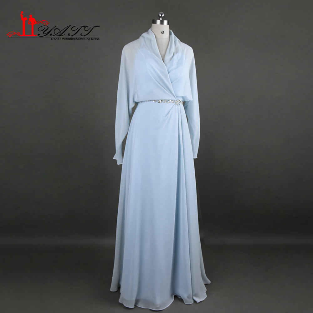 2017 Fashion Kate Middleton Evening Dresses V Neck Long Sleeve A line Long Light Sky Blue Modest Prom Pageant Celebrity Gowns