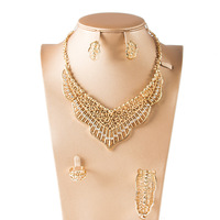 Dealky New Fashion Saudi Gold Necklace Set Jewelry African Gold Plating Jewellery Set 4 Pcs Necklace