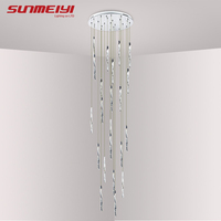 Modern Aluminum Spiral LED Crystal Ceiling Light For Living Room Hotel Restaurant Lustre Led Long Stair