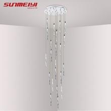 Современный алюминиевый спиральный светодиодный хрустальный потолочный светильник для гостиной отеля Ресторан блеск светодиодный длинный лестничный светильник plafondlamp