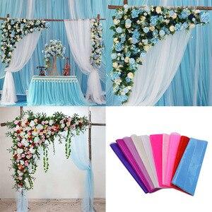 Image 1 - 5 Meter * 48 Cm Sheer Crystal Organza Tulle Roll Stof Gaas Voor Bruiloft Decoratie Diy Bogen Stoel Sjerpen Baby douche Levert 7