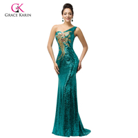 Sexy 2015 Grace Karin Train Long Formal Gown Plus Size One Shoulder Sequins Mermaid Evening Dress