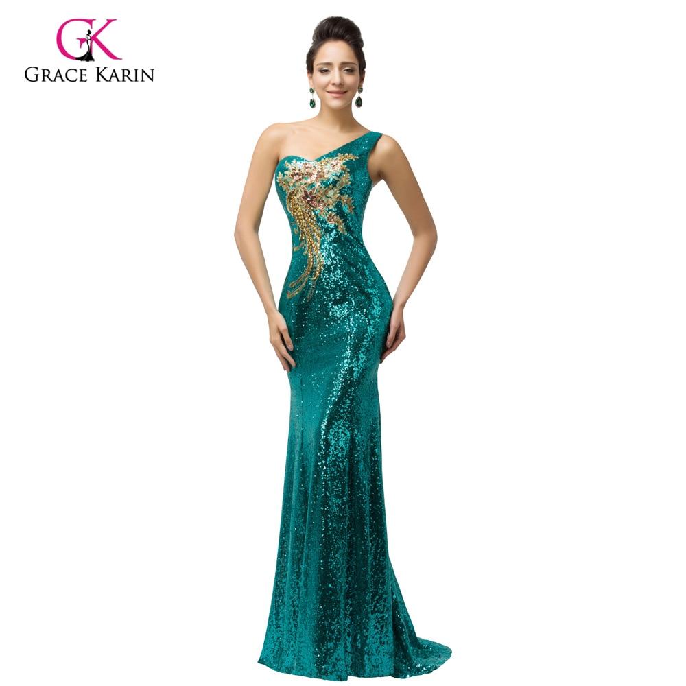 Grace Karin Sexy Purple <font><b>teal</b></font> Green Sequin Gown Mermaid Long Evening <font><b>Dresses</b></font> 2018 Trumpet One shoulder Evening Party <font><b>Dress</b></font> 7545