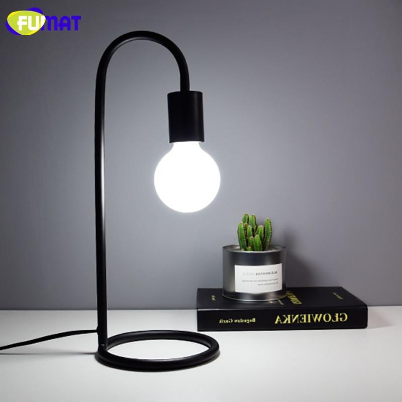 Фумат Настольные лампы Nordic металлический стол свет американский теплой постели свет небольшая настольная лампа черный, белый цвет