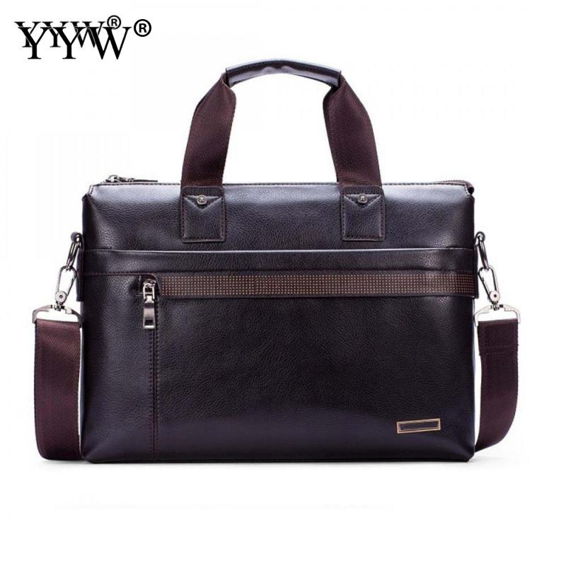 Black Men's Executive Briefcase Business Male Tote Bag Portfolio Laptop Bags For Men PU Leather Handbag A Case For Documents