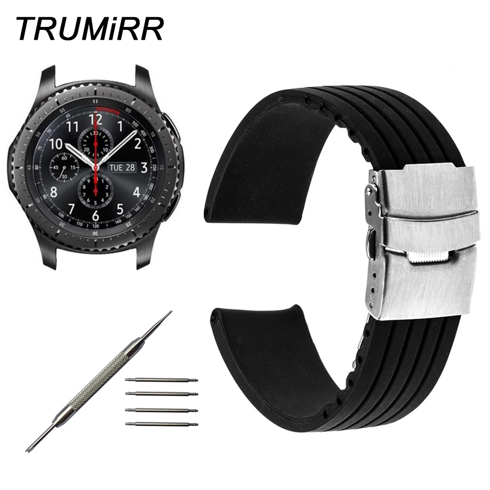 Silicone Rubber Strap 22mm for Samsung Gear S3 Classic Frontier Garmin Fenix Chronos Watch Band Safety Clasp Belt Wrist Bracelet silicone sport watchband for gear s3 classic frontier 22mm strap for samsung galaxy watch 46mm band replacement strap bracelet