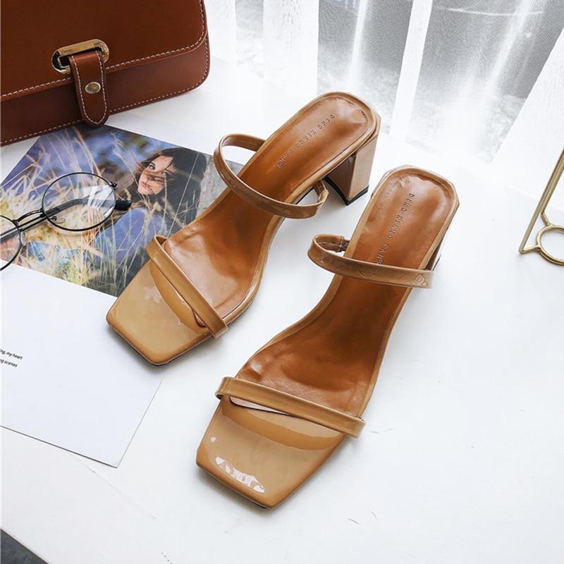 Slip On High Heels Square Toe Women Slippers Summer Elegant Trendy Woman Sandals Brown Thin Strap Women Slipper Shoes Sandels