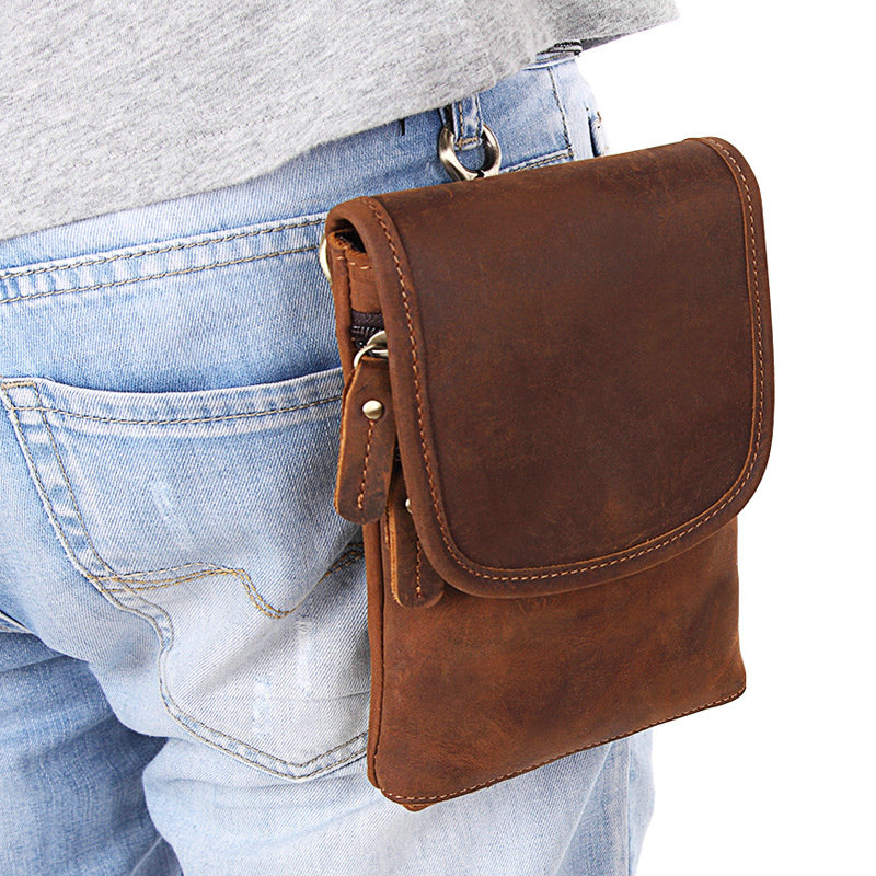 Cowhide Crazy Horse Leather Crossbody Bags for Men 8 inch Tablet Phone Waist Pack Vintage Genuine Leather Messenger Bag Small simline 2017 vintage genuine crazy horse leather cowhide men men s messenger bag small shoulder crossbody bags handbags for man