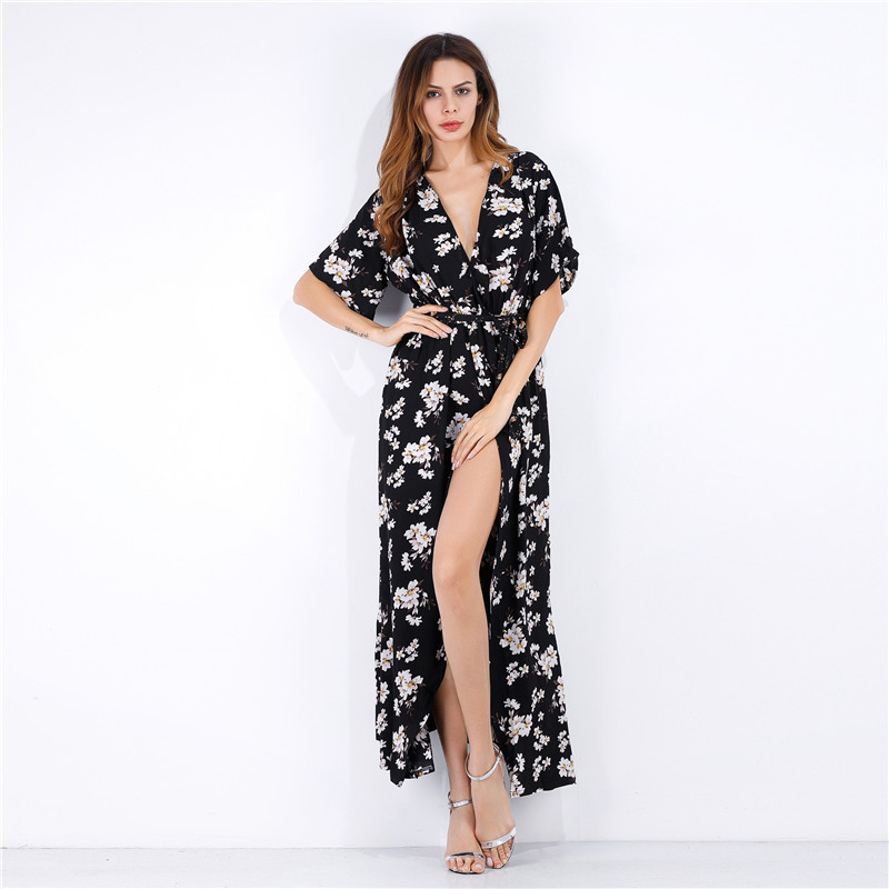Sexy V-neck Women Beach Dress Floral Printing High Waist Female Long Vestidos Chiffon Vocation Summer Dress