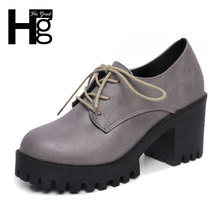 HEE GRAND Office Ladies Shoes Fashion Graceful Women Pumps Lace-up Pattern OL Square Heel Shoes for Woman XWX4665