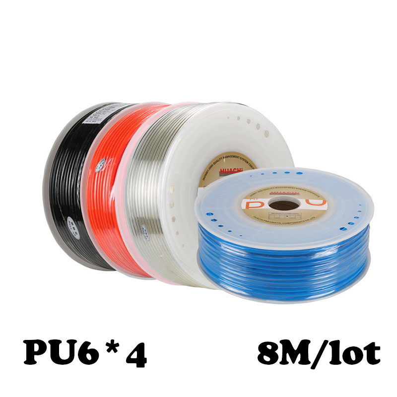 PU Pipe 6*4mm 8M/lot for air  4mm OD 6mm Air water Pneumatic parts pneumatic hose ID