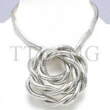Fabrication 5mm 90 cm blanc K fer plaqué Flexible Flexible collier sous forme de serpent, 10 pcs/paquet