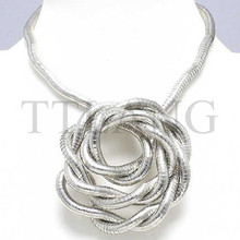 Manufacture 5mm 90cm White K Plated Iron Bendable Flexible Bendy Snake Necklace,10pcs/pack