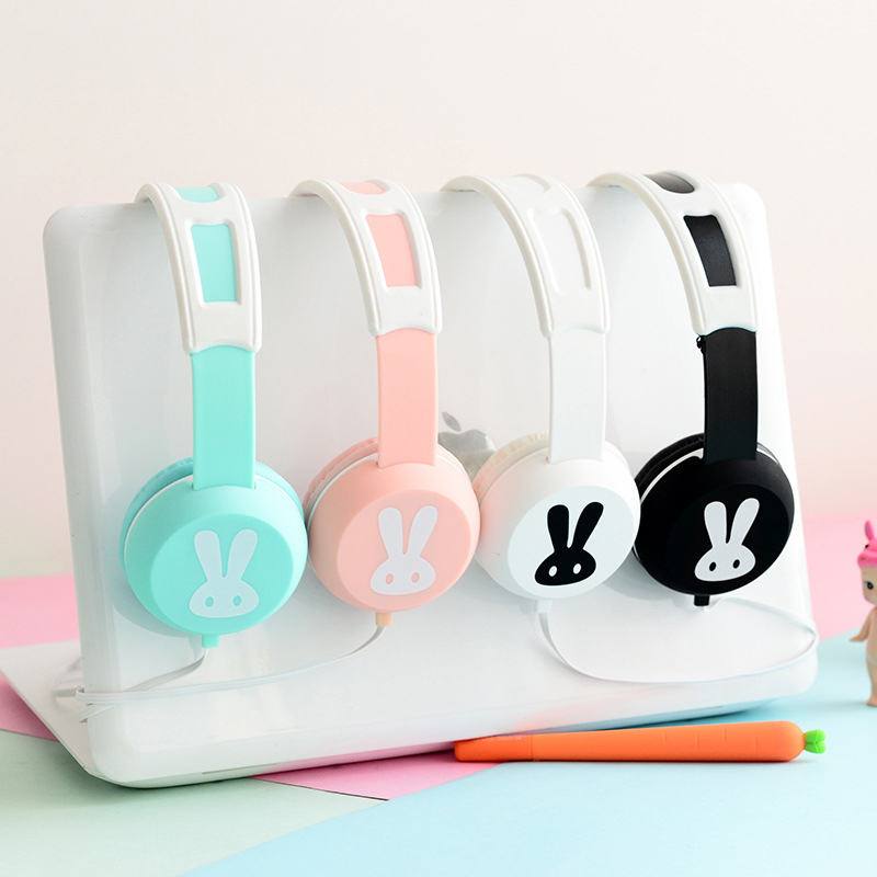 Teamyo Cute Rabbit Headband Stereo Headphones with Microphone Portable Wired Control Headset for Kids Girls Cute For Phones/PC