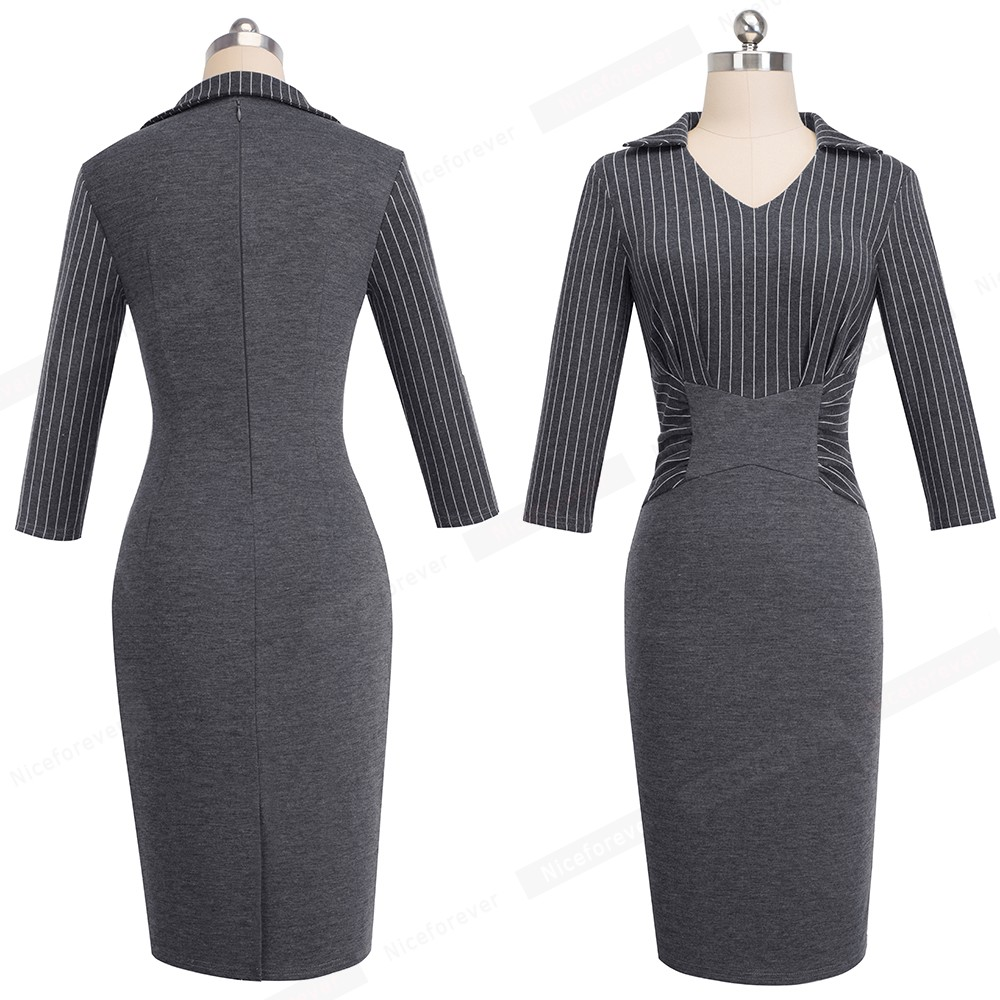 ec9a7be9e5e36 US $18.01 47% OFF|Women Fashion Apparel Work Office Casual Dress Vintage  Striped One piece Sheath Bodycon Career Pencil Church Dress HB479-in  Dresses ...