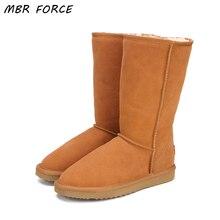 MBR FORCE/зимние ботинки из натуральной кожи на меху; женские ботинки высокого качества в австралийском стиле; зимние женские ботинки; теплые ботинки; botas mujer