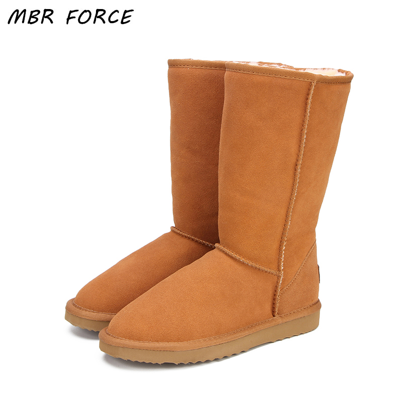 MBR FORCE Echtes leder Pelz schnee stiefel frauen Top Hohe qualität Australien Stiefel Winterstiefel für frauen Warme Botas Mujer