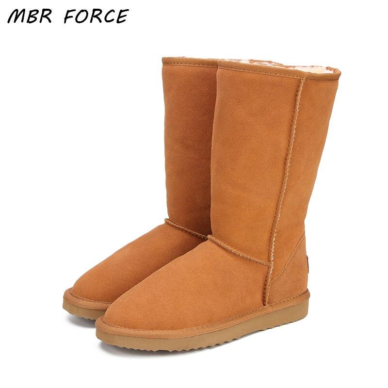 MBR FORCE en cuir véritable fourrure bottes de neige femmes Top haute qualité australie bottes bottes d'hiver pour femmes chaud Botas Mujer