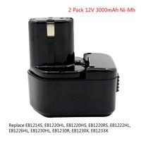 2X 12V 3 0Ah Ni Mh Rechargeable Tools Battery For Hitachi EB1220HL EB1226HL EB1230HL EB1230X 322629