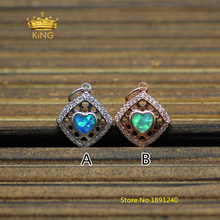 5pcs 13x16mm Diamond Phombus CZ Pave Tiny Charms Pendants Supply,Manmade Opal Heart Crystal Zircon Findings Craft Necklace KS47