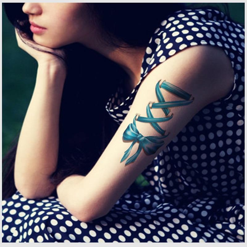 199476cdb Woman Temporary Tattoo Stickers Colored Bow Design Fake Tattoo Sleeves Sexy  Wrist Feet Water Transfer Body Tattoo Decals Henna
