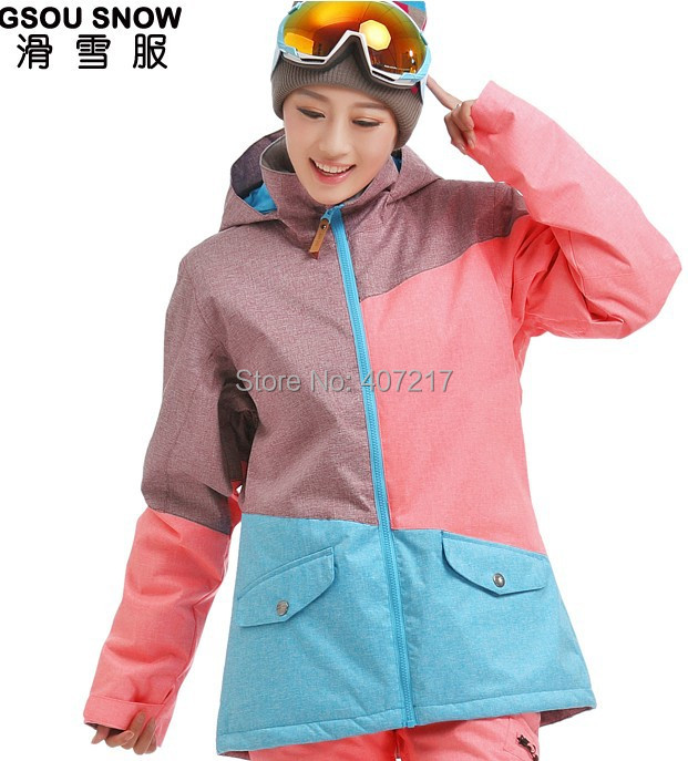 2014 new womens color matching ski jacket blue pink snowboarding jackets skiing jacket for women anorak skiwear 10K free ship 2016 womens color matching ski jacket blue pink gray snowboarding jackets skiing jacket for women anorak skiwear 10k xs l