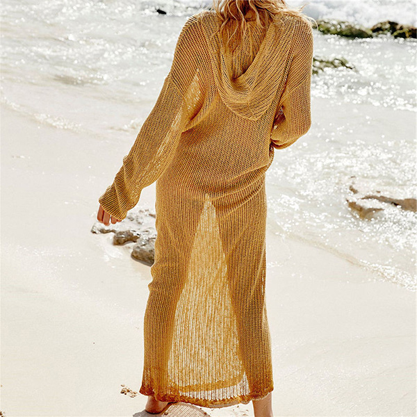 Full Length Mesh Crochet Beach Cover Up Dress 9