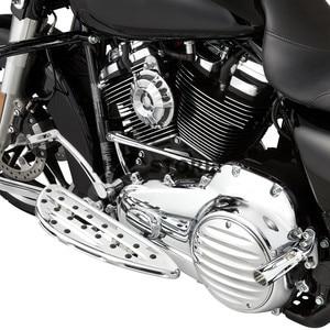 Image 2 - Chrome Front Driver Floorboards Voetsteunen Uitgerekt Pedaal Voor Harley Touring Road King Glide Softail Dyna Straat Flh Flst Fld