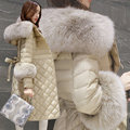 Winter Korean Slim was thin and light warm hooded long big real fox fur collar down jacket women parkas outwear coat MZ1116