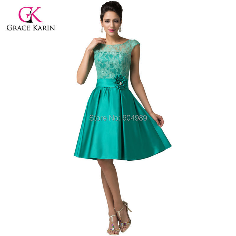 2d898f831a2 Grace Karin Green Purple Blue Vintage Evening Gown Cap sleeve dress formal Dresses  Satin + Lace Short Prom Dress 2015 6116-in Evening Dresses from Weddings ...