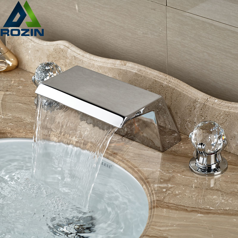 ФОТО Luxury Deck Mount 3 Holes Waterfall Basin Faucet Two Handles Chrome Bathroom Mixer Taps