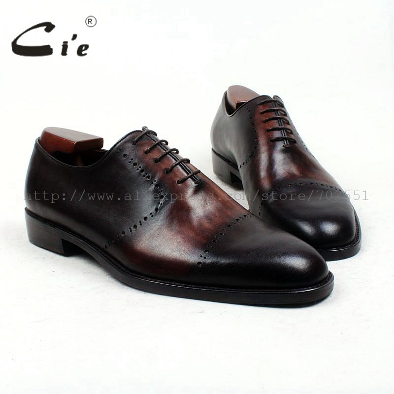 cie Free Shipping Bespoke Custom Handmade Men's Dress Oxford Cap Plain Round Toe Calf Genuine Leather Color Brown Shoe No.OX435