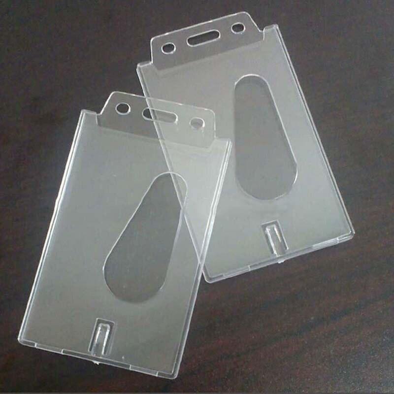 1 PCS Transparent Case Clear Vertical Hard Plastic Badge Holder Card ID Credit Holder