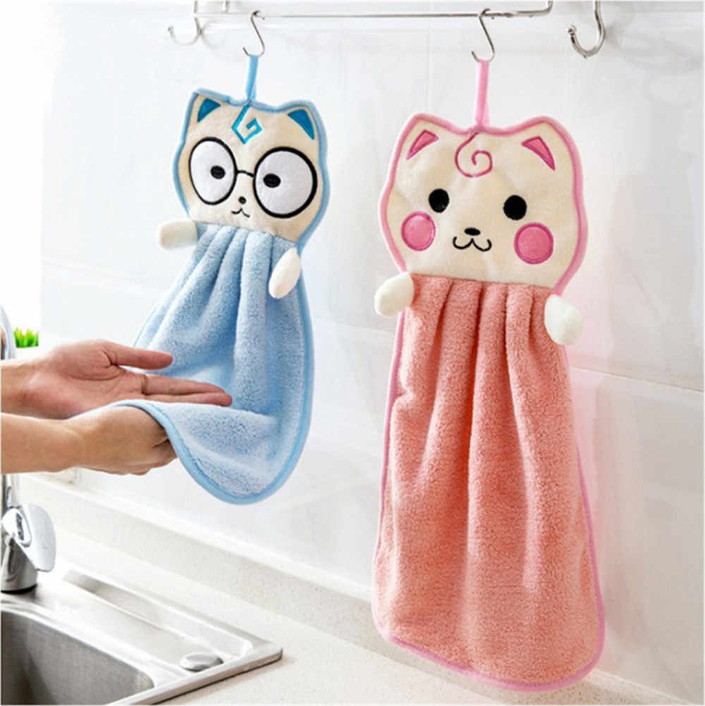 Cute Cartoon Thickened Towel Kitchen Hanging Water Towel Kitchen Dining Home Tool handkerchief women cotton mouchoirs en coton