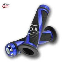 1 Set Blue Universal 7/8″ Motorcycle Bike Rubber Handlebar Hand Grips with Caps Bar Ends
