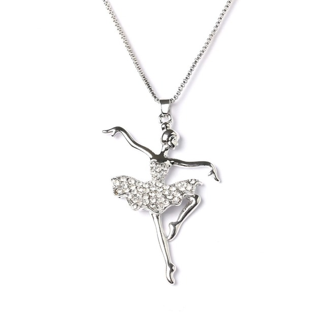 Fashion Silver Plated + White Crystal Dancing Ballerina Pendant Necklace