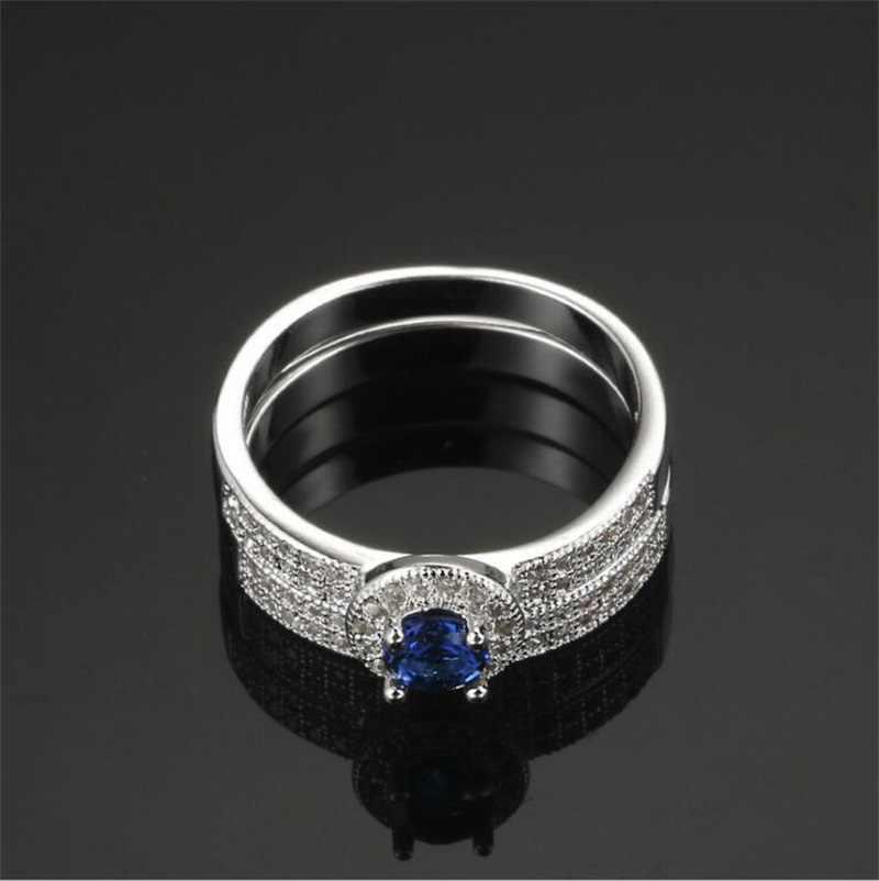 YHAMNIเดิมธรรมชาติ100% 925แหวนเงินสำหรับผู้หญิงSet Top 1 ct 6มิลลิเมตรสีฟ้าอัญมณีCZเพทายแหวนแต่งงานเครื่องประดับปรับLR007
