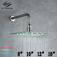 LED Color Changing Nickel Brushed 8 & 10 & 12 & 16 Shower Head with Shower Arm Wall Mounted