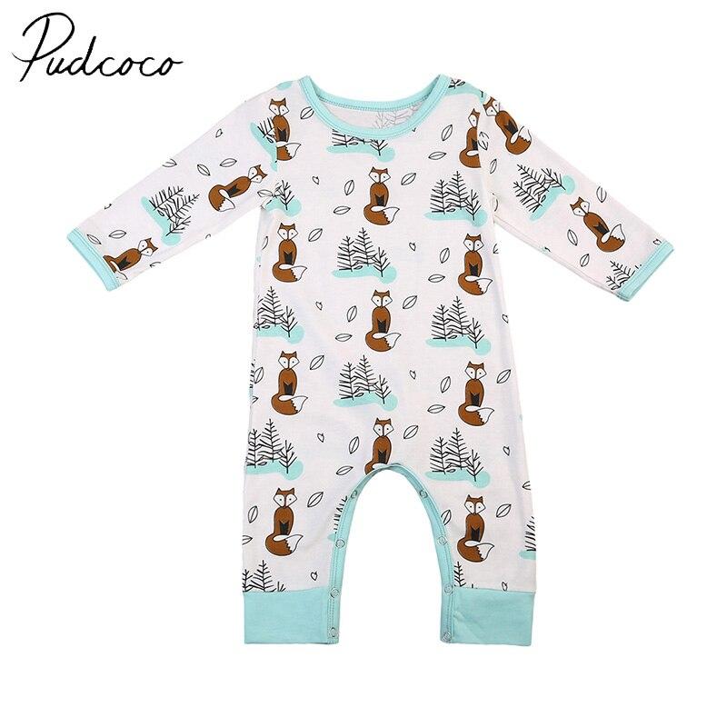 Pudcoco бренд Смешанный хлопок новый новорожденных Обувь для девочек мальчик Фокс ползунки облегающий костюм комбинезон США наличии 0-24 м