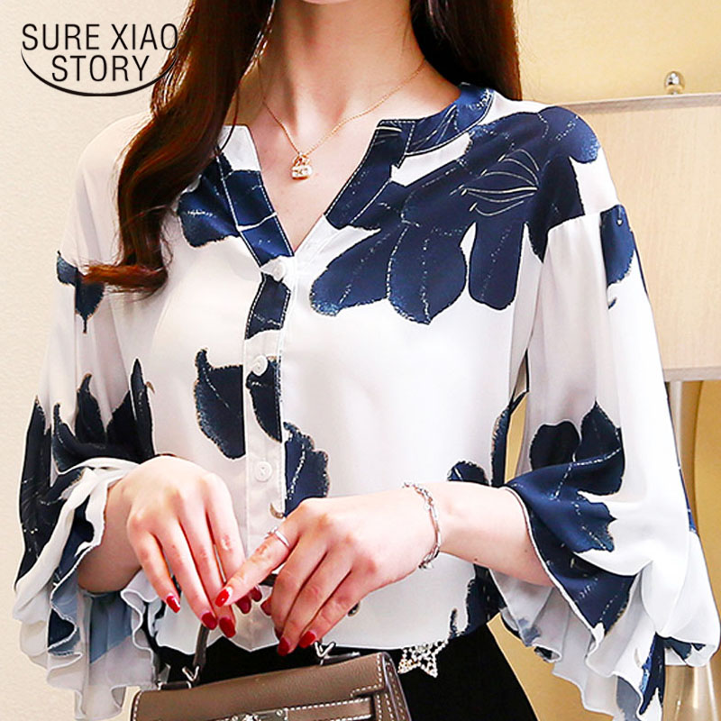 Womens tops and   blouses   plus size white   blouse     shirts   ladies tops chiffon   blouse   V-Neck Floral Puff Sleeve   shirts   2878 50