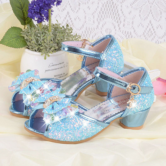 233009169 Blue Pink Silver Bling Bling Kids Party Shoes Wedding Elegant Dress Shoes  For 4-12Years Butterfly Wing Shoes Girls Fancy Sandals