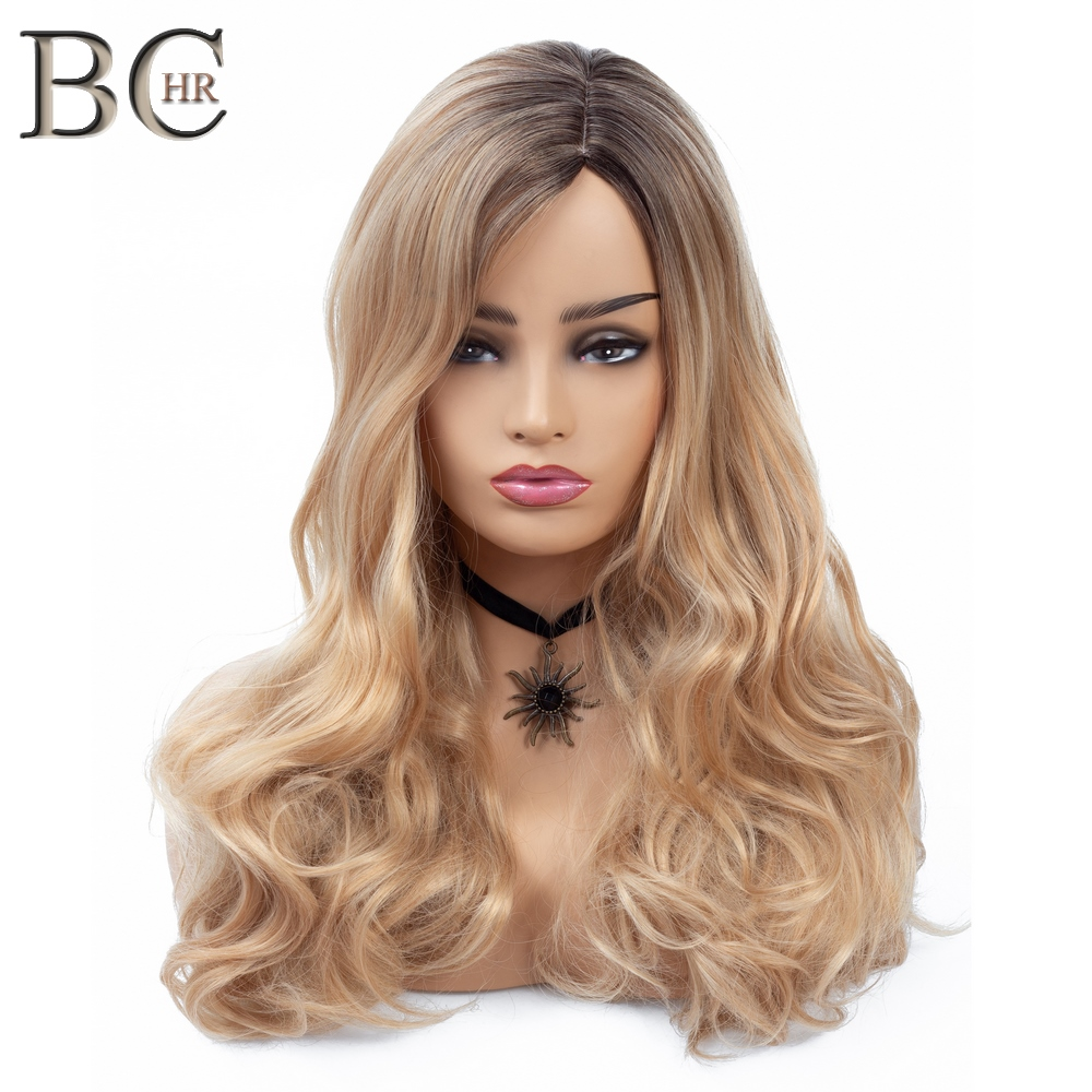 BCHR Long Wave Ombre Wig Side Part Blonde Wig Synthetic Wig For Women Dark Root Gold Hair For Wedding Party