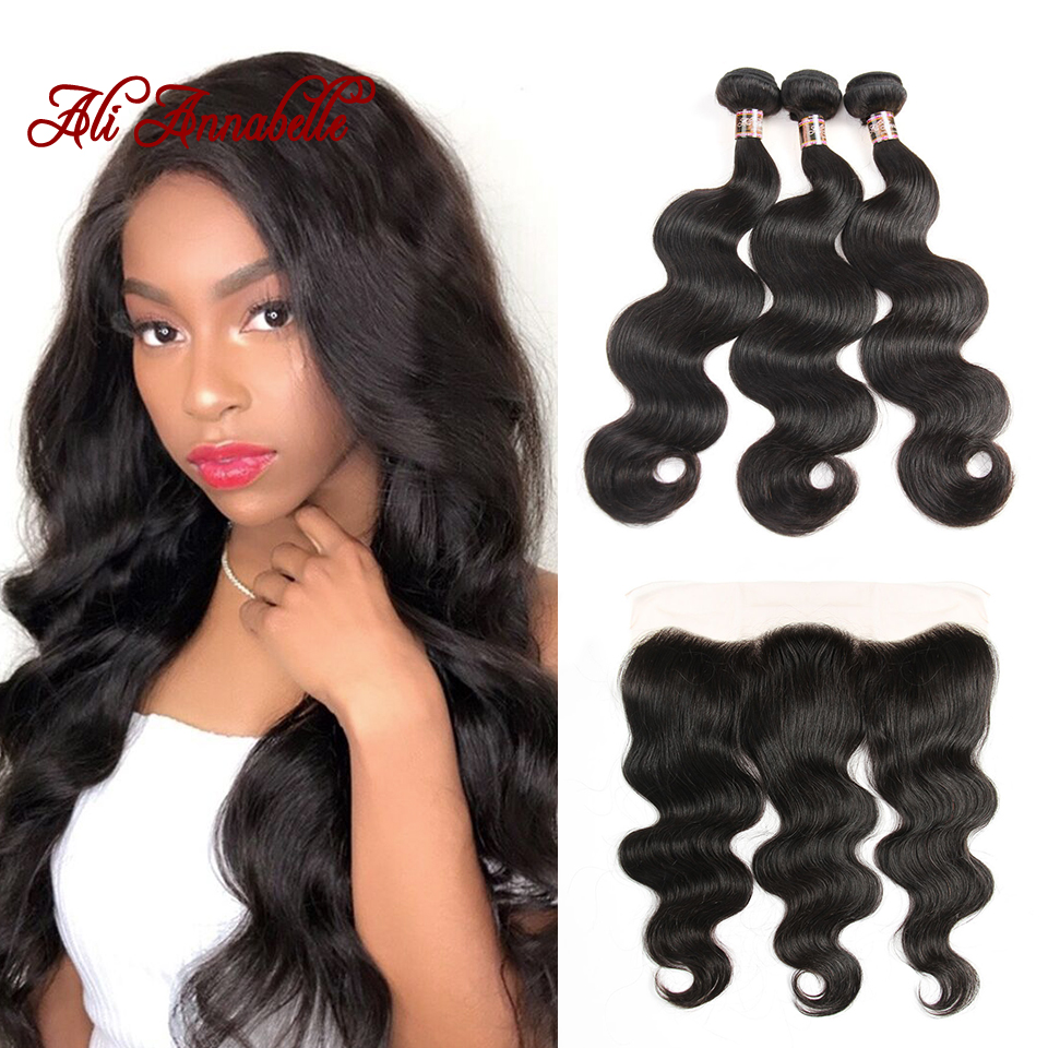 ALI ANNABELLE HAIR 13x4 Lace Frontal Closure With Bundles Peruvian Body Wave Human Hair Bundles With