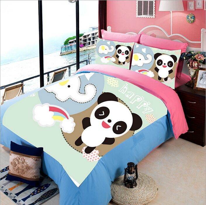 cute cartoon panda elephant bedding sets for kidu0027s home decor twin full queen king size bedspread