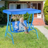 Outdoor Kids Patio Swing Bench with Canopy 2 Seats Metal Tubular Construction Puppy Pattern Swing Chair OP3036